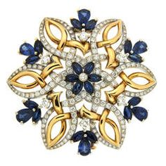 Dolce Neve Sapphire Diamond Gold Brooch | From a unique collection of vintage brooches at https://www.1stdibs.com/jewelry/brooches/brooches/