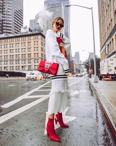 NYFW SS18 Street Style - Red Booties, Pinko Red Bag, and Han Wen Outfit