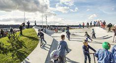 "LEMVIG Skatepark / EFFEKT Completed in 2013 in Lemvig, Denmark. Images by EFFEKT. ""By introducing the 'Skate+Park' concept, EFFEKT has created a new type of multi-functional and recreational urban park area that bridges user groups. Park Landscape, Urban Landscape, Landscape Architecture, Landscape Design, Urban Sport, Linear Park, Sport Park, Park Playground, Skateboard Design"
