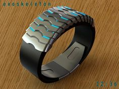 """Design submitted by Peter from the UK. Peter says: This is """"Exoskeleton"""" a variation on a theme of an earlier design called """"Vertebrae"""". Like Vertebrae this design is inspir… Modern Watches, Cool Watches, Watches For Men, Mvmt Watches, Sport Watches, Wrist Watches, Best Fitness Watch, Fitness Watches For Women, Old Pocket Watches"""