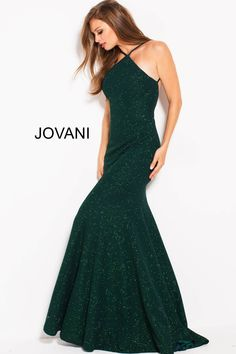 389b27a90a Jovani 59887 Simple and sexy floor length form fitting emerald glitter  jersey prom dress features sleeveless bodice with high neckline and low  back.