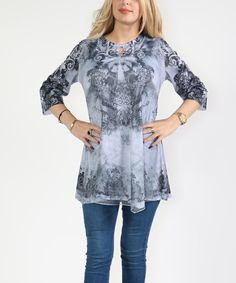 Gray Abstract Three-Quarter Sleeve Tunic - Plus Too