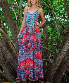 Look at this La Moda Clothing Red & Blue Geometric Halter Maxi Dress on #zulily today!