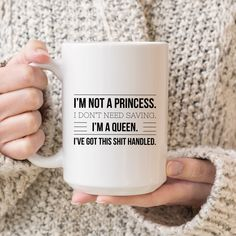 Sassy Mug Gift Idea | Gift-for-Her | Princess Queen | Funny Mugs for Women | Mugs with Sayings | Large Coffee Mug | Statement Mug | Queen by SheMugs on Etsy https://www.etsy.com/listing/603127583/sassy-mug-gift-idea-gift-for-her