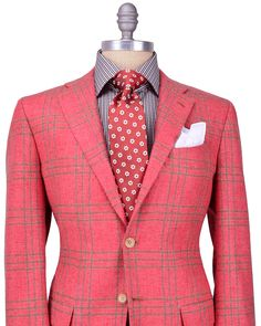 Kiton Red with-Brown Plaid Sportcoat 	2 button jacket 	Salmon lining 	Fully lined 	Notch lapel 	Flap pockets 	Double vent 	100% cashmere 	Handmade in Italy