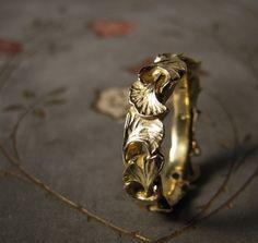 Loooooooooooove (but in white gold)    Ginkgo Leaf Ring 14K  Made to Order by ginandbutterflies on Etsy, $780.00