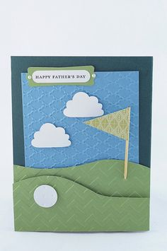 Handmade pull-out Father's Day golf course pocket card