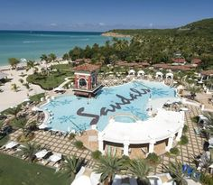Aerial view of Sandals Antigua Dickenson Bay, Antigua Vacation Fanatics Travel