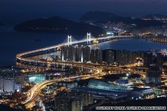 Gwang-An Bridge,Korea  Also known as the Diamond Bridge, this two-story bridge connects Suyeong-gu and Haeundae-gu and offers an astonishing view of mountains, sandy beaches, hills and city lights.