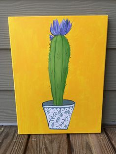 A plant that doesn't require sunshine or water! 12x16 Acrylic Cactus Painting on Canvas available on Etsy. Perfect for a Southwest inspired room.