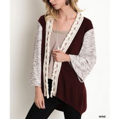 """Wallflower"" Knit Colorblock Cardigan Loose bell sleeved cardigan with a tribal knitted trim. Available in black and burgundy. This listing is for the BURGUNDY. Brand new. ABSOLUTELY NO TRADES. Bare Anthology Sweaters Cardigans"