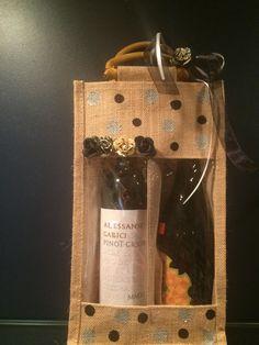 Wine gift bag. Wine tote. Custom wine gift bag. Burlap by Bedotted, $12.95