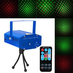 Mini DJ Club Disco Projector Stage Laser Light Auto strobe, Sound/Voice-Activated Green Red Voice Control Function with Remote
