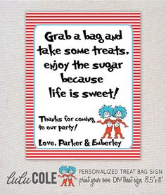 Thing 1 & Thing 2 Dr. Suess Inspired Treat Bag/Favor Sign - PERSONALIZED - Print Your Own on Etsy, $3.00