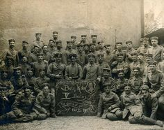 """This group photo is from an unsent postcard, """"probably from training,"""" Putney speculates. His great-grandfather, Lt. Walter Koessler, served with the 10th Reserve Division stationed near Verdun throughout much of World War I."""