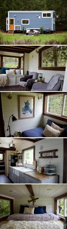 Tiny Traveling Farmhouse: designed for tailgate parties and traveling! Tiny Apartments, Tiny Spaces, Tiny House Shipping Container, Tiny House Big Living, Small Room Organization, Weekend House, Tiny House Movement, Tiny House On Wheels, Tiny House Design