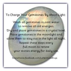 Charging gemstones. BE CAREFUL! Not all crystals can go into water. You can use Sage on everything. Sometimes sea salt.