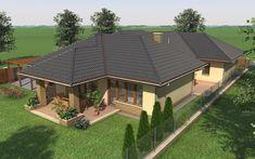 Egyszintes családi ház 195 m2 | Családiházam.hu Dream Home Design, My Dream Home, House Design, Beautiful House Plans, Beautiful Homes, Modern Bungalow House, Model House Plan, House Front, Homesteading
