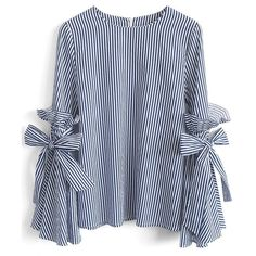 Chicwish Stripes Charisma Top with Bell Sleeves ($40) ❤ liked on Polyvore featuring tops, blouses, shirts, blusas, blue, ruffle shirt, blue shirt, bell sleeve tops, blue ruffle blouse and striped shirt