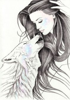 12 belos desenhos de Andrea Hrnjak Cosmic Love Art, drawings, paintings, illustrations - Arte no Papel Online Pencil Art Drawings, Art Drawings Sketches, Animal Drawings, Cute Drawings, Drawing Art, Art And Illustration, Wolf Love, Wolves And Women, Wolf Artwork