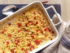 Baked Creamed Corn With Red Bell Peppers and Jalapenos recipe from Ree Drummond via Food Network