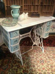 I was gifted with one these this week she will become shabby this week. Singer sewing machine table made shabby. Refurbished Furniture, Repurposed Furniture, Shabby Chic Furniture, Furniture Makeover, Vintage Furniture, Painted Furniture, Diy Furniture, Vintage Shabby Chic, Shabby Chic Decor