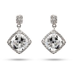Look like a million dollars on your wedding day with these Glitzy Glam Cushion Cut CZ Dangle Earrings.