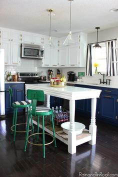Modern Kitchen • Navy and White Painted Cabinets • DIY Island • Kelly Green & Brass Accents