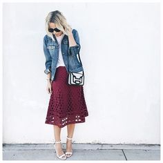 Pin for Later: 11 Transitional Pieces to Buy Now and Wear All Through Fall A Cranberry Midi Skirt Wear It Now: With sandals and a slouchy tee. Wear It Later: With a dark button-up and smart closed-toe flats.