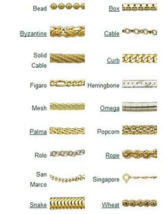 Gold Jewelry Chain Styles - Best 10 Types Of Necklace Chains Metal Jewelry, Gold Jewelry, Jewelry Accessories, Jewelry Necklaces, Necklace Chain, Diy Jewellery Chain, Gemstone Jewelry, Vintage Costume Jewelry, Vintage Jewelry