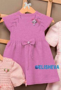 Нарядное платье для девочки с ажурными линиями реглана, вязаное спицами   Блог elisheva.ru