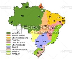 Map Southeast Region And States PHOTOVIDEOBANK Brazil Map - Brazil states map