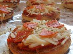 english muffin pizza... easiest dinner ever and just as tasty as when I was five.