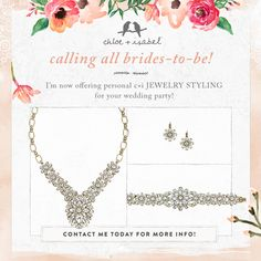 Looking for bridal styling advice? Let me help you find the perfect jewelry for your special day! Contact me today!