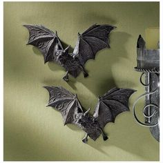 Buy Design Toscano Vampire Bat - The Vampire Bats of Castle Barbarosa Wall Sculptures - Set of 2 - Bat Figure - Halloween Bats Halloween Bat Decorations, Halloween Wall Decor, Halloween Bats, Wall Decorations, Halloween Vampire, Halloween Garland, Halloween Foods, Halloween Design, Halloween 2019