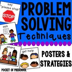 Problem solving posters and techniques support your students to solve their own problems!  Problem solving is a skill we need to teach just like we need to teach letters and sounds.  It takes lots of practice and visual supports.  Included are twelve techniques problem solving techniques (aka conflict resolution strategies).