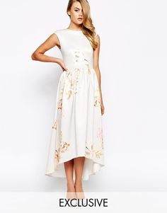 True Violet | True Violet Structured Painted Floral Print Maxi Dress With High Low Hem at ASOS