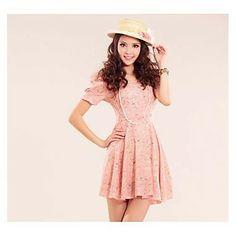 Women's Chiffon Sweet Short Sleeve Floral Mini Dress – EUR € 13.85
