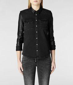 Womens Keaton Denim Shirt (Black) with full length leather sleeves.