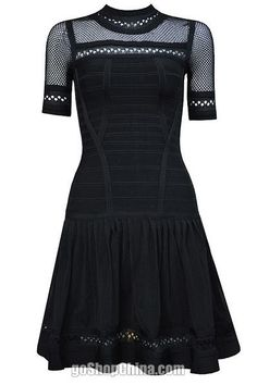 Flared bandage dresses black wholesale from China for cheap, best cocktail dresses