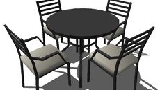 3D Model of Exterior furniture - four seats garden table (small file size)