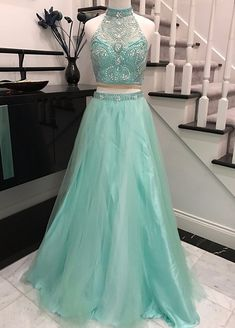 Mint Halter Two Pieces Long Tulle Prom Dresses For Teens,Elegant Evening Dresses,Modest Prom Gowns,Cheap Party Dresses,Women Dresses Prom Dresses Two Piece, A Line Prom Dresses, Beautiful Prom Dresses, Tulle Prom Dress, Evening Dresses, Dress Long, Wedding Dresses, Elegant Dresses, Homecoming Dresses