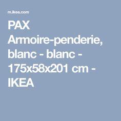 PAX Armoire-penderie, blanc - blanc - 175x58x201 cm - IKEA