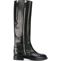 Designer Clothes, Shoes & Bags for Women Flat Leather Boots, Flat Boots, Black Leather, Black Heels Low, Low Heels, Low Heel Boots, Knee High Boots, Black Mid Calf Boots, Riding Boots