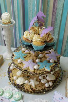 "Cookies on edible ""sand"" at a Under the Sea Mermaid Party #underthesea #mermaidpartycookies"