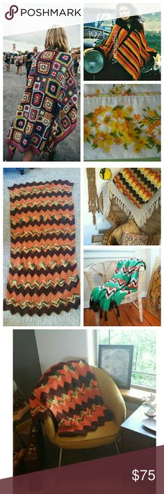 Retro groovy 70's boho crochet throw blanket Vintage item. Listed as urban for visibility. Chevron. Like grandma made it. #uohome #uoroom perfect for campfires or draped over a groovy rattan chair or modern lounge seat. Retro mustard, green, orange, and brown. Actual blanket in last 3 photos. Use as a rug in your room or as a wall tapestry Urban Outfitters Tops