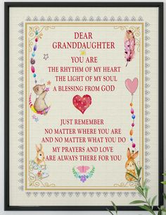Dear Granddaughter Poster Ready To frame Grandaughter Birthday Quotes, Birthday Wishes For Daughter, Birthday Poems, Birthday Blessings, Birthday Wishes Quotes, Birthday Messages, Happy Birthday Wishes, Birthday Greetings, Birthday Cards
