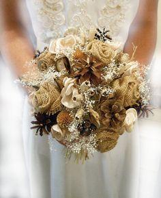 "8"" Medium Size, Country Wedding Bouquet, Burlap and Babies Breath Bridal or Bridesmaid Bouquet."