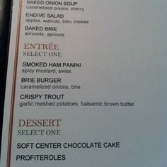 Restaurant Week 2012   Park Grill Chicago lunch menu-Baked Brie, Crispy Trout & Chocolate Cake- it's like they called me!