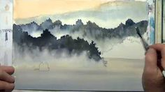 watercolor trees in the mist - YouTube
